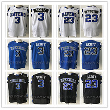 One Tree Hill Movie #3 #23 Nathan Scott Ravens Black White Blue Embroidery Stitching Mesh Basketball Jersey