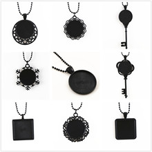 2pcs 25mm inner size Cameo Sstting pendant Black Necklace Fashion Handmade necklace :70cm Ball chain long necklace
