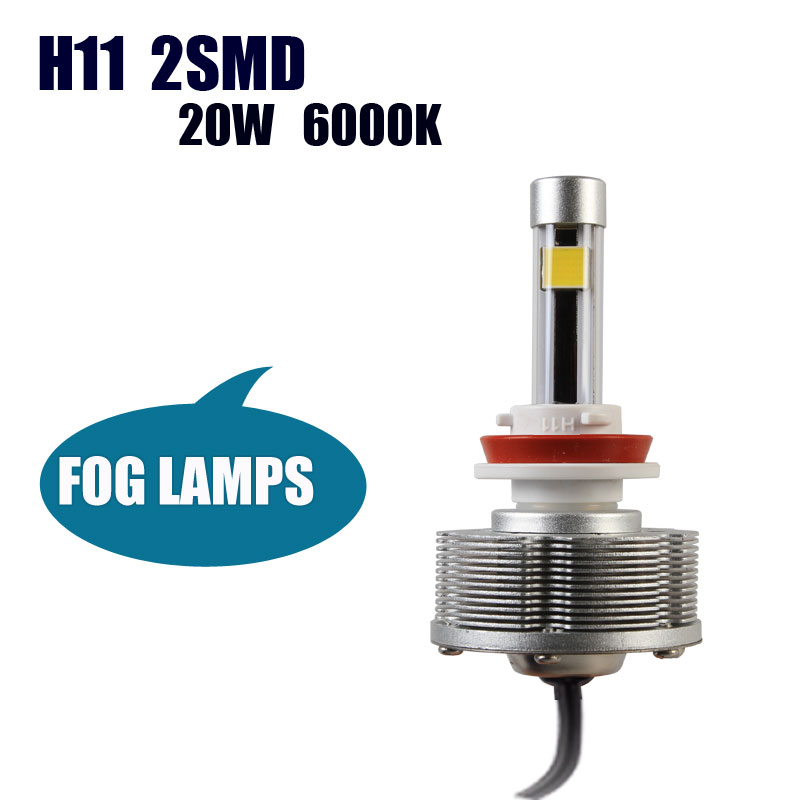 H11 Trucks LED Fog Lamps External Lights Easy Install H11 2SMD Factory Sale Brightest 6000K 2400LM white Car Bulbs<br><br>Aliexpress