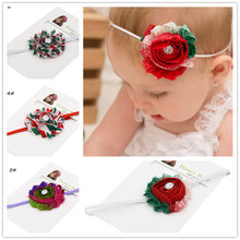 30pcs Shabby chiffon Rosette Flower headband Red White Green Christmas hair bows Newborn  hair accessories Photo Prop