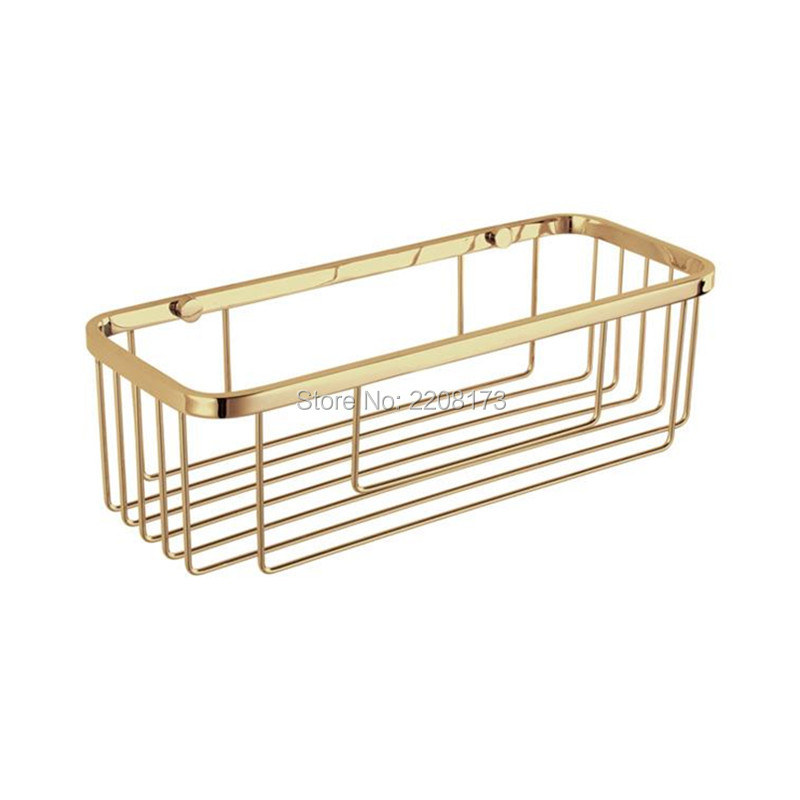 New Luxury Bathroom Accessories stainless steel Gold Style single-wall Mounted rectangular storage baskets shower caddy baskets<br>