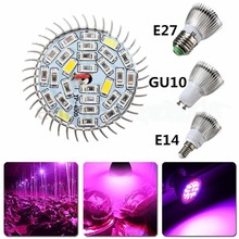 28W 28 LEDs Full Spectrum Grow Light AC85-265V E27 E14 GU10 Indoor Plant Lamp For Plants Vegs Hydroponic System Grow/Flowering