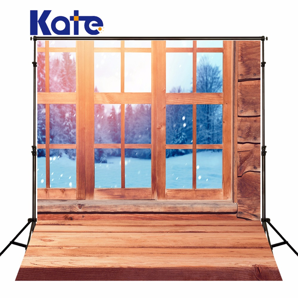 Kate Wood Floor Backgrounds For Photo Studio Window Frozen Snow Photography Backdrops Winter Backdrop For Newborn<br>