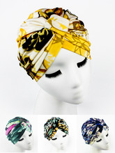 NEW  Luxury Divas Green Floral Leaf Print Turban lady fashion head wrap headband TH-36
