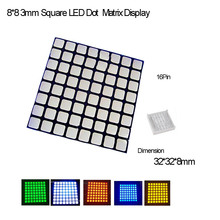 Full Color 3.0 Square LED 8*8 Dot Matrix Common Anode,16Pin,2PCS/lot R,G,B,Y,O,W Avalible,Fast Delivery(China)