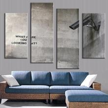 2017 Top Fashion New Arrival Unframed 4 Pcs/set Banksy Art What Are You Looking At Modern Painting Wall Pictures Canvas