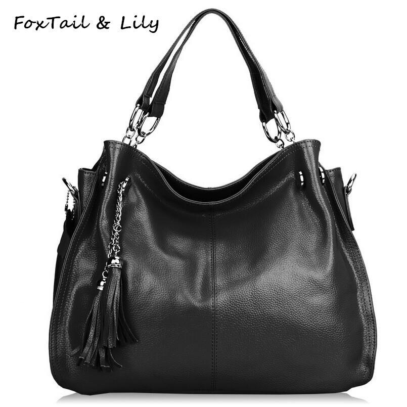 FoxTail &amp; Lily Tassel Bag Women Real Leather Handbag Vintage Shoulder Crossbody Bags Fashion Genuine Cowhide Soft Tote Bags<br><br>Aliexpress