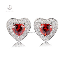 Eulonvan Promotion First class products Red Cubic Zirconia Beautiful 925 sterling Silver Time limited discount Earrings S--3749