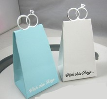 100pcs wedding ring candy box wedding favors gift box chocolate box sweet box 2color white and blue