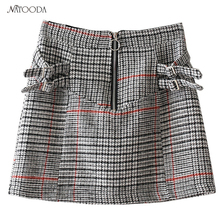 Buy NATOODA 2018 Fashion Women Vintage Plaid Skirts Sashes Zipper Retro Female Casual Cute Mini Skirt Faldas Mujer XY3027 for $14.14 in AliExpress store