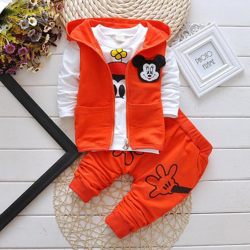 2016 New Retail High Quality Fashion Girls Clothing Sets Mickey Minnie T-Shirt+Skirt 2pcs Baby Kids Girl Clothes Sets