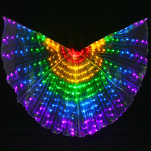 2017 New Performance Prop Women Dance Accessories Girls DJ LED Wings Light Up Wing Costume LED Butterfly Wings Rainbow(China)