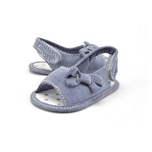 2017 new genuine Cotton girls sandals in summer walker shoes with Bow antislip sole kids toddler magazine sandal High Quality