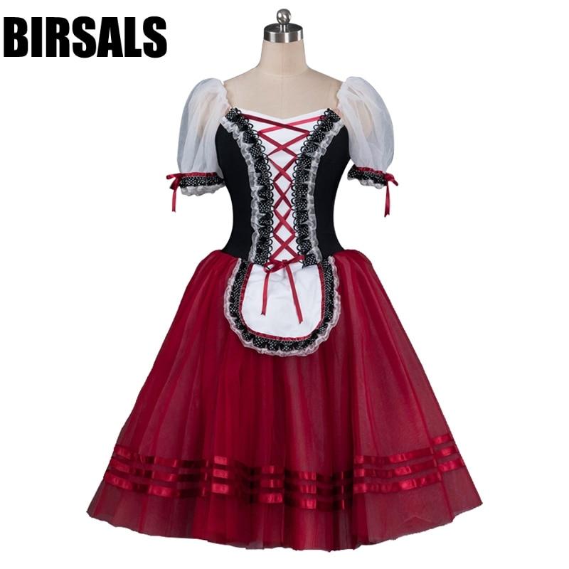 Burgundy Giselle Romantic Professional Ballet Tutu Dress Girls Maid Ballerina Classical Tutu Dress BT8904E