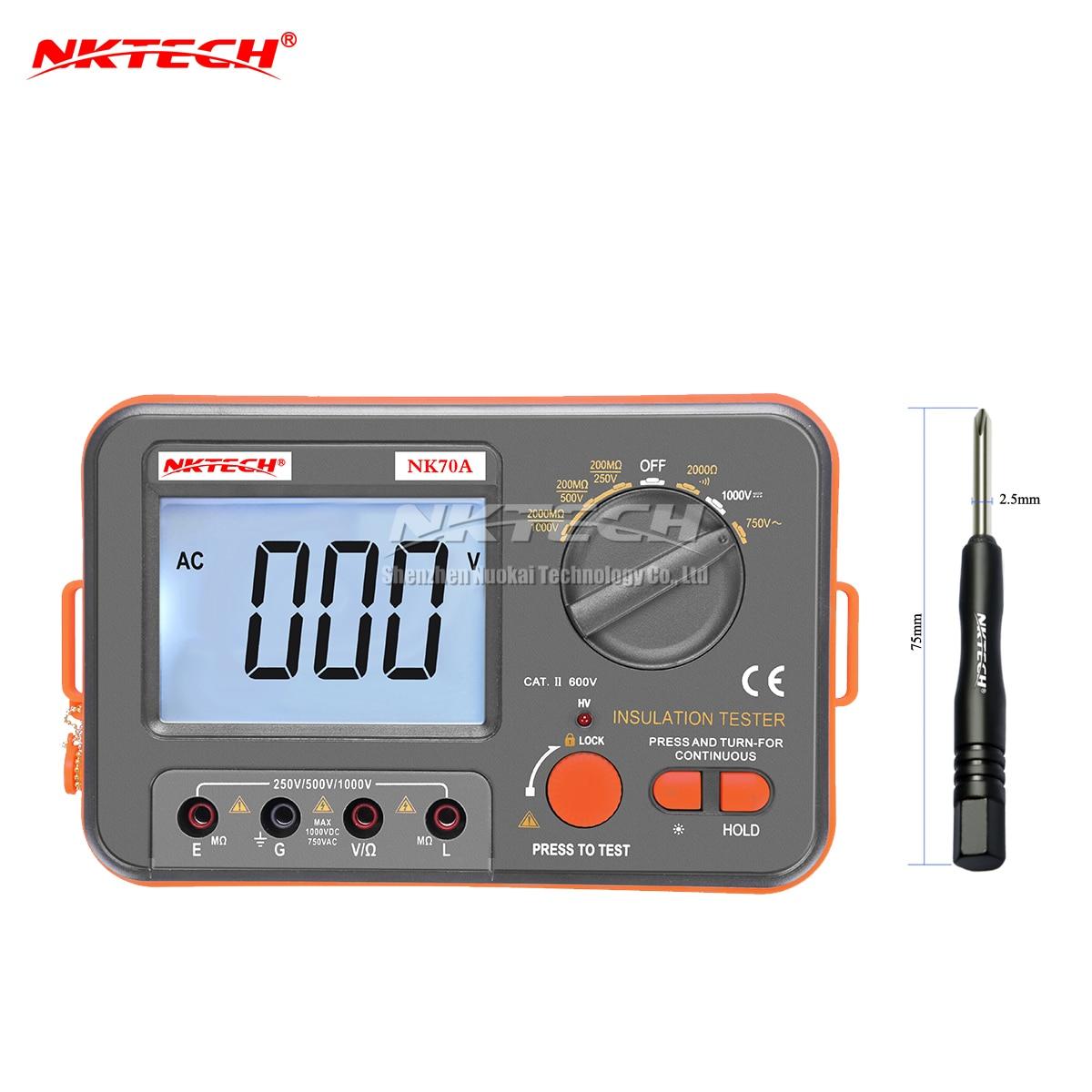NKTECH Digital Megohmmeter Tester MegOhm Meter NK70A LCD Insulation DC AC Voltage Resistance 250V/500V/1000VDC 750VAC Multimeter<br>