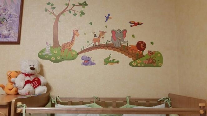 HTB1xoTpjlcHL1JjSZJiq6AKcpXaI - 3D Cartoon Jungle wild animal tree bridge lion Giraffe elephant birds flowers wall stickers for kids room living room home decor