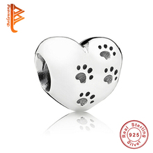 925 Sterling Silver My Sweet Pet Paw Print Charm Fit Original Pandora Bracelet Necklace Heart Bead Accessories Jewelry Making