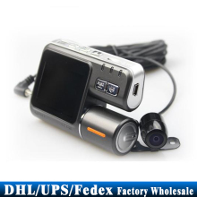 DHL/Fedex/UPS 20pcs/lot Hot HD 720P X2 Dual Lens Vehicle Camera Black Box Car Mini DVR Video recorder(China)