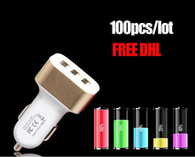 FREE DHL100pcs Mini Portable 3 port USB Car Charger AC adapter for mobile phone tablet 5 colors for Apple Iphone 6 6S Plus Ipad(China)
