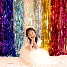 Shimmering Gold Silver Metallic Tinsel Curtain Foil Room Shiny Pub Party Stage Wedding Decoration Backdrop Background
