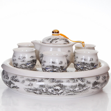 Joy - 8 head of Jingdezhen ceramic tea set tea cup cup double burn proof tray Miaojin snow