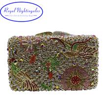 Flower Hard Box Clutch Crystal Evening Bags and Purses for Matching Shoes and Womens Wedding Prom Evening Party