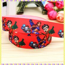 7/8'' Free shipping teen titans go printed grosgrain ribbon hair bow headwear party decoration wholesale OEM 22mm H4222