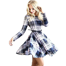 NEW 2017   Brand Autumn Vintage Women Casual Shirt Dress Plaid Check Print Long Sleeve Slim Bodycon Party Dresses with Belt