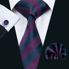 LS-1405 Barry.Wang Classic Men`s Tie Purple Striped 100% Silk Tie Hanky Cufflink Set For Men Formal Wedding Party Groom Business(China)