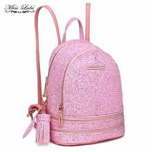 Miss Lulu Women PU Leather Bling Studs Sequins Pink Backpacks Girls School Bags Small Princess Shoulder Bag Rucksack LT1763(China)