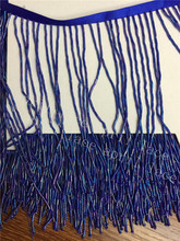 A001-3 NEW 5 yards/bag 15cm width shining blue beads ribbon fringe tassel for garment/decorative/wedding bridal gown dress(China)