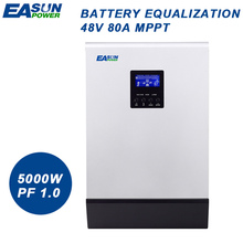 EASUN POWER 5000W Solar Inverter 80A MPPT Off Grid Inverter 48V 220V Hybrid Inverter Pure Sine Wave Inverter 60A Battery Charger(China)
