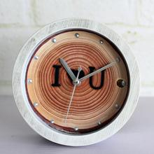 Free Shipping Modern Wooden Tree rings brand I LOVE U Desk vintage Alarm Clock mute