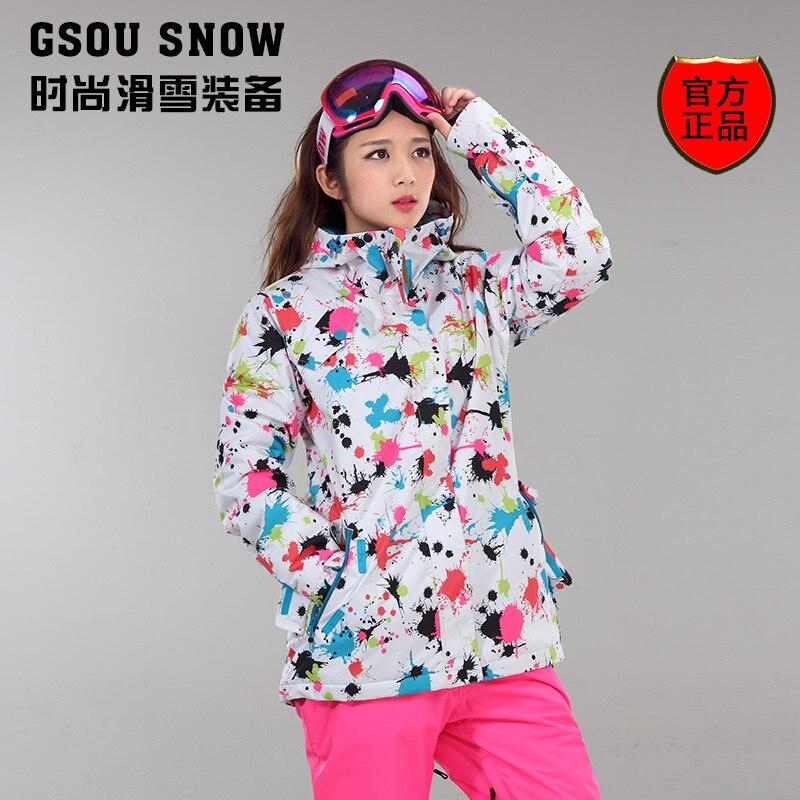 2017 hot womens flower printing ski jacket female snowboarding jacket winter outdoor waterproof sportswear white skiwear<br><br>Aliexpress