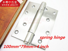 2pcs Stainless steel single spring hinge positioning invisible door hinge slotted hinge 4 inch