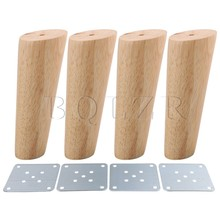 BQLZR 4PCS 15cm Height Wood Color Oblique Tapered Reliable Wood Furniture Cabinets Legs Sofa Feets