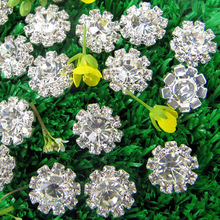 12mm,15mm,18mm Crystal rhinestone button with shank for flower centers 120pcs RMB039