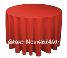 "120""Red Round Table Cloth Polyester Plain Table Cover For Wedding Events & Party Decoration(China)"