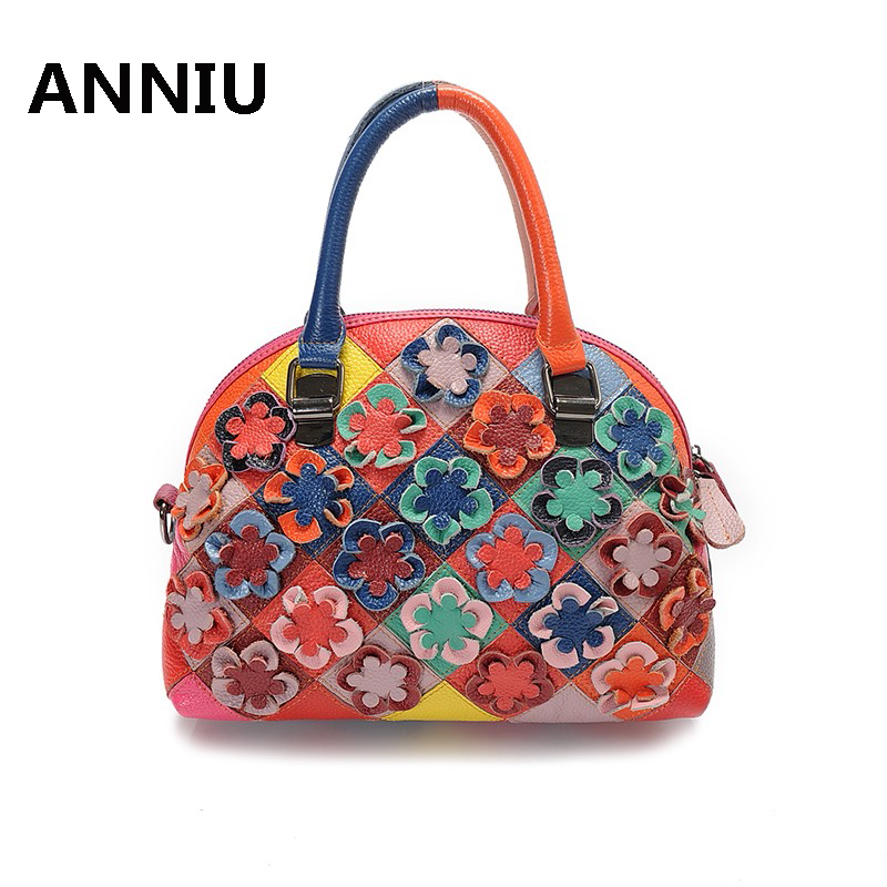 ANNIU brand 2017 New Fashion Women Solid Camellia handbag designer high quality female Genuine Leather shoulder bags <br>