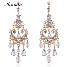 Minmin Bohemia Style Dangle Earrings Gold-color Jewelry Chandelier Long Drop Crystal Earrings for Women & Brides EH606