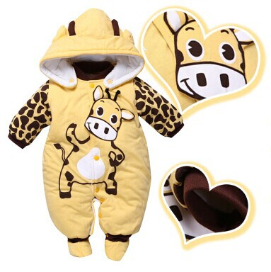 V-TREE new 2017 cotton thicken baby rompers winter infant girls boys underwears cartoon long sleeve jumpsuit