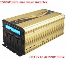 Pure Sine wave power inverter LCD display 1500W DC 12V to AC 220V or DC24V to AC220V, peak power up to 3000W inverter