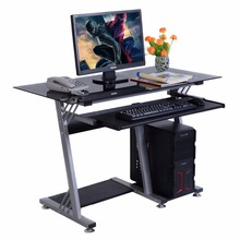 GOPLUS Glass Top Modern Computer Desk Table Office Furniture Keyboard Shelf New HW51359(China)