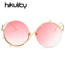 Alloy Round Unique Sunglasses Women Brand Thorns Frame Eyewear Pink Blue Gradient Lens Sun Glasses Ladies Gold Clear Lunette(China)