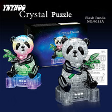 YNYNOO 3D Puzzles DIY Crystal Green Bamboo Flash Panda with Light 3D Crystal Puzzles Assembled DIY model birthday gift set toys