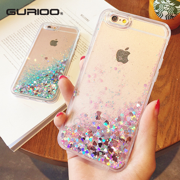 Fashion Liquid Glitter Sand Mobile Phone Cases iphone 6 6s 5 5s SE 7 7 Plus Heart Sequins Dynamic Plastic + Soft Edge Fundas
