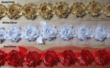 "Free Shipping costing price 15y 1.5"" petite shiny metallic rose flower trim for girls hair accessories,chiffon headbands flowers"
