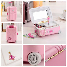 Luxury Smart Cute Girl Princess Dancing Luggage Music Box Jewelry Storage Box Cafe Book Store Wedding Party Girls Room Decor