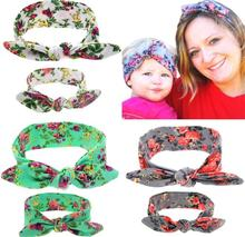 Fashion Mom Printed Rabbit Ears Hair Tie Bow Floral Hair Bands White Gray Green Soft Flower Cotton Headbands Hair Accessories