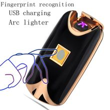 Intelligent USB Arc Lighter Dual Fire Arc Lighter Fingerprint Induction Charging Metal WindProof No Gas Smoker Cigarettes Gift